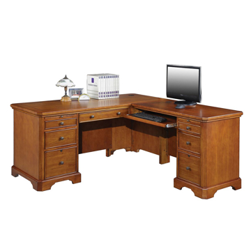 "Picture of Topaz 66"" Desk With 42"" Return In Cinnamon"