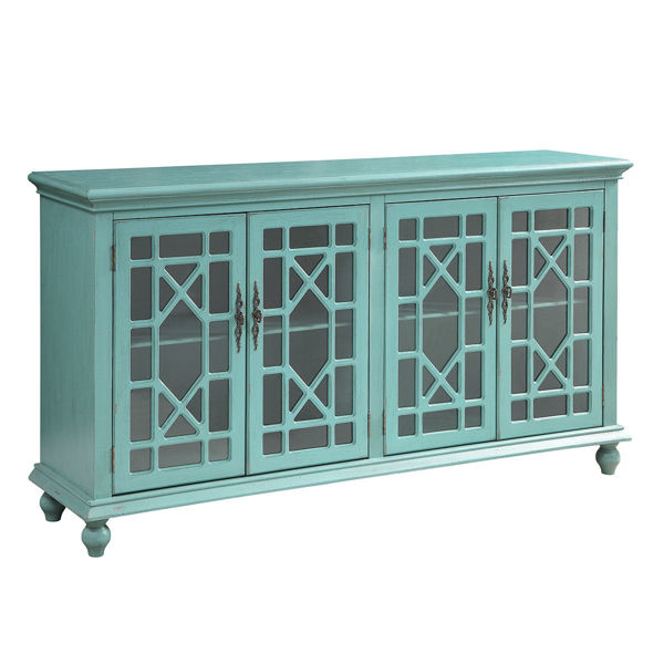 Picture of Distressed Teal 4 Door Media Credenza