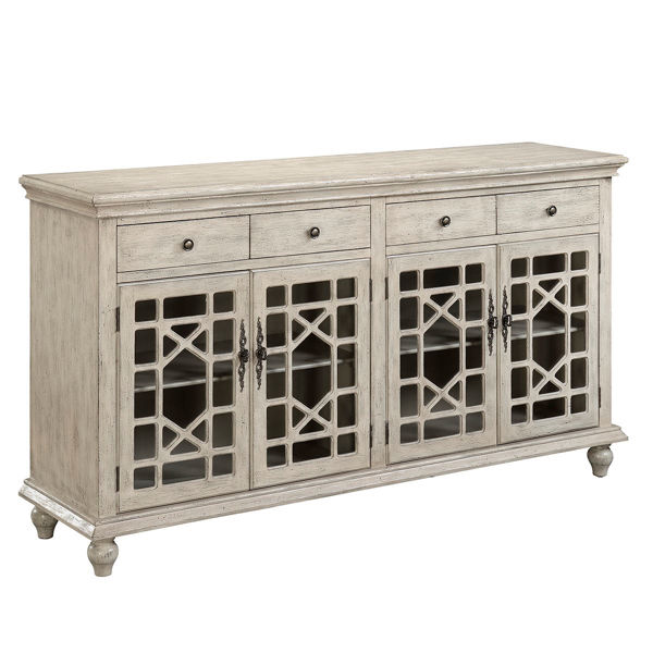 Distressed White 4 Drawer 4 Door Credenza By Coast To
