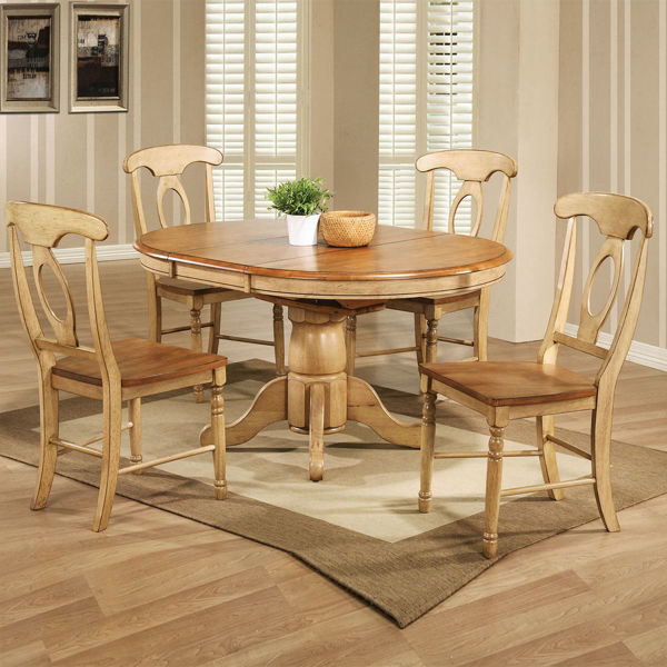 "Picture of Quails Run 57"" Pedestal Table With Butterfly Leaf"