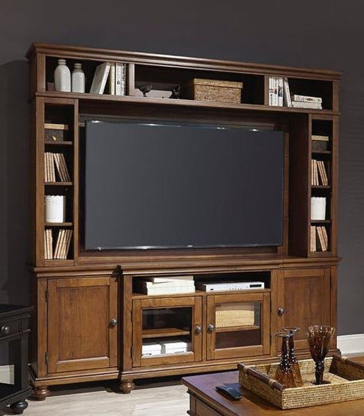 "Picture of Oxford 86"" 2 Piece Entertainment Set in Whiskey Brown"