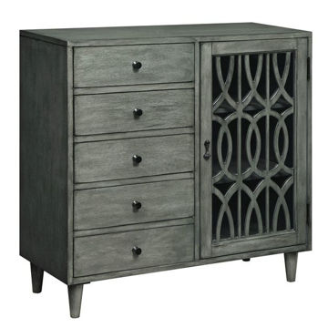 Picture of Grey Five Drawer 1 Door Cabinet