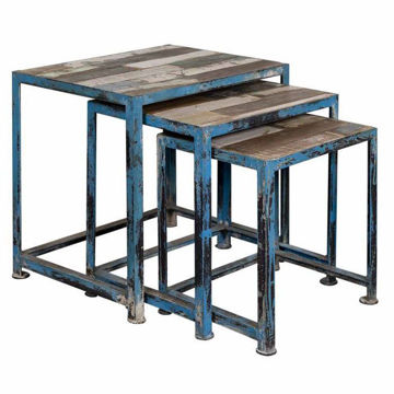 Picture of Blue Natural Three Nesting Tables