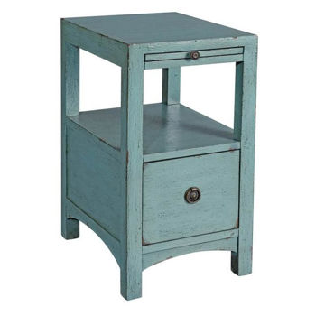 Picture of Light Blue One Drawer Chairside Table