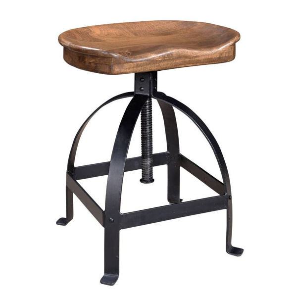 Picture of Mango Wood and Steel Ajustable Stool