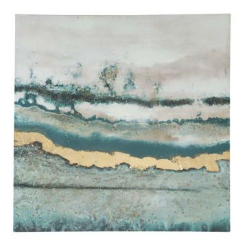 Picture of Praveen Blue And Gold Abstract Print