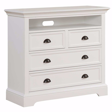 Picture of Tamarack White 4 Drawer TV Chest