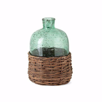 Picture of Rikard Small Green Glass Bottle with Bamboo