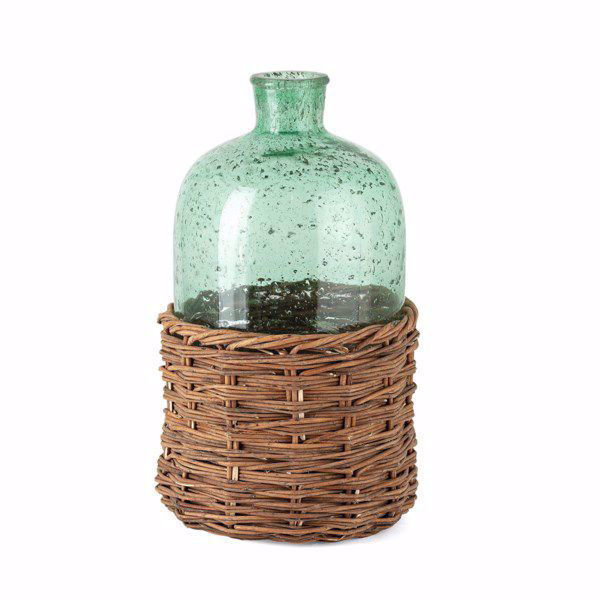 Picture of Rikard Large Green Glass Bottle with Bamboo