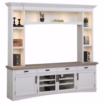 Picture of Americana Modern Cotton 92 in. 4 Piece TV Console with Hutch