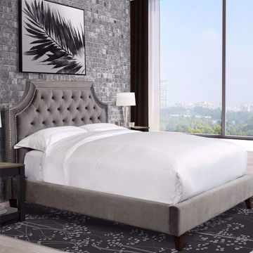 Picture of Jasmine Flannel Upholstered Queen Bed