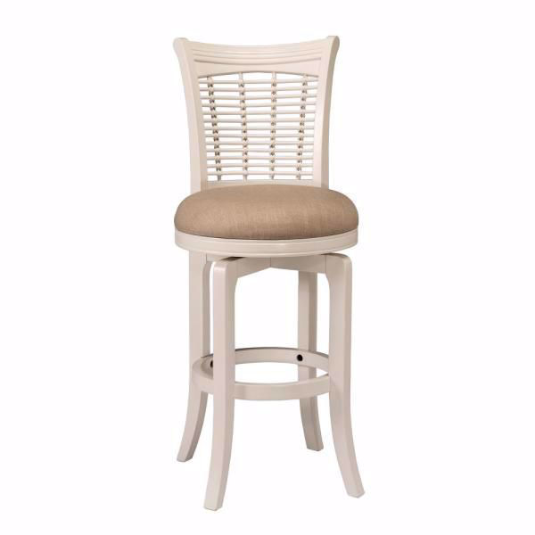 Picture of Bayberry White Swivel Cushioned Counter Stool