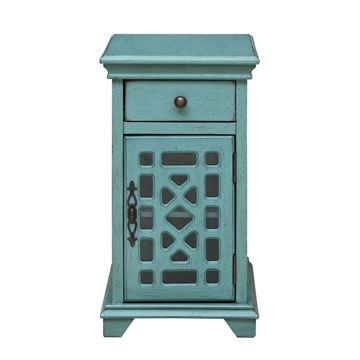 Picture of Bayberry Blue One Drawer One Door Chairside Cabinet