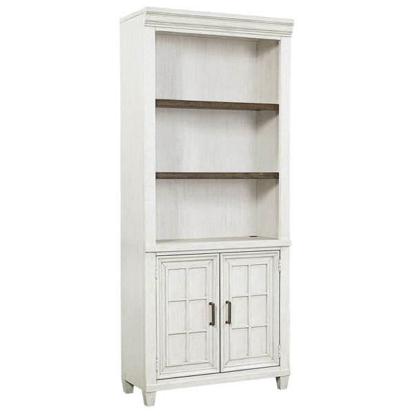Picture of Caraway Aged Ivory Door Bookcase