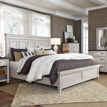 Picture of Caraway Aged ivory Queen Panel Bed