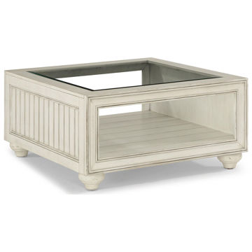 Picture of Harmony Cottage Square Cocktail Table with Glass Top