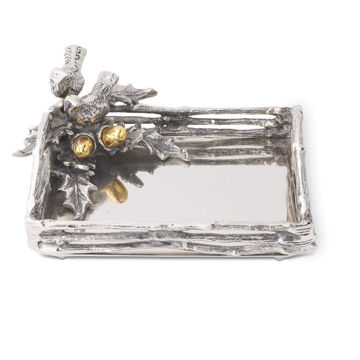 Picture of Polished Silver Tray with Birds and Oak Leaves