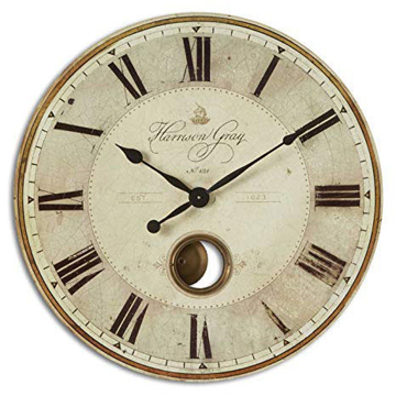 "Picture of Harrison Gray Weathered Look 30"" Round Wall Clock"