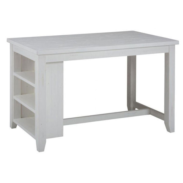 Picture of Madaket White Counter Height Table with 3 Shelf Storage