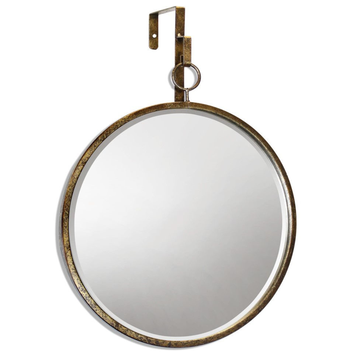 """Picture of Haile 20 X 17"""" Round Beveled Gold Mirror"""