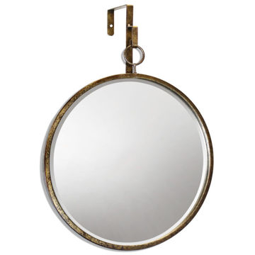 "Picture of Haile 20 X 17"" Round Beveled Gold Mirror"