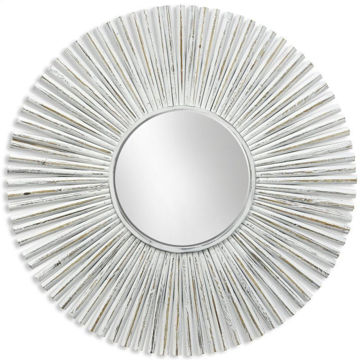 Picture of Sunburst Whitewashed Round Mirror