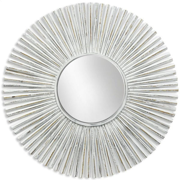 Picture of Sunburst Whitewashed Round Mirror