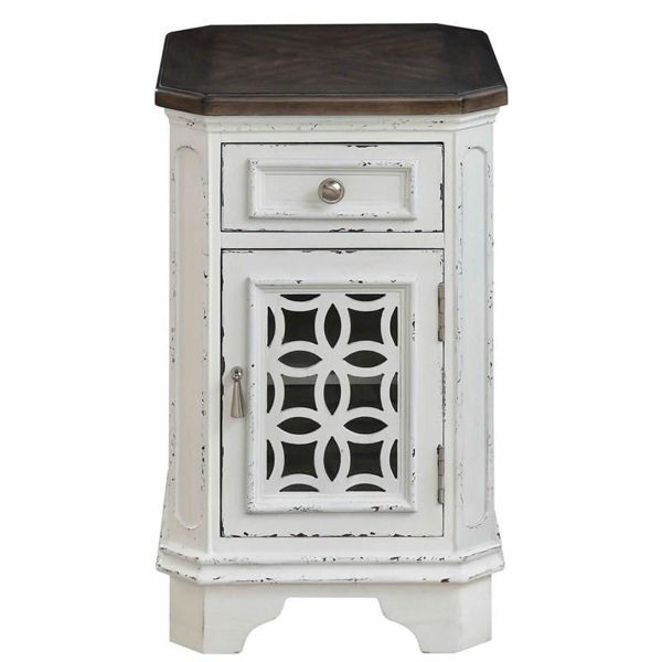 Picture of Cottage Row White One Door One Drawer Chairside Cabinet