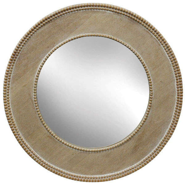 "Picture of Round Beaded Wooden 24"" Mirror"