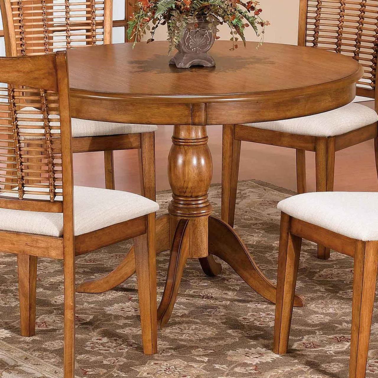 """Picture of Bayberry 44"""" Round Oak Pedestal Dining Table"""