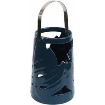 Picture of Palm Leaf Blue Ceramic Lantern