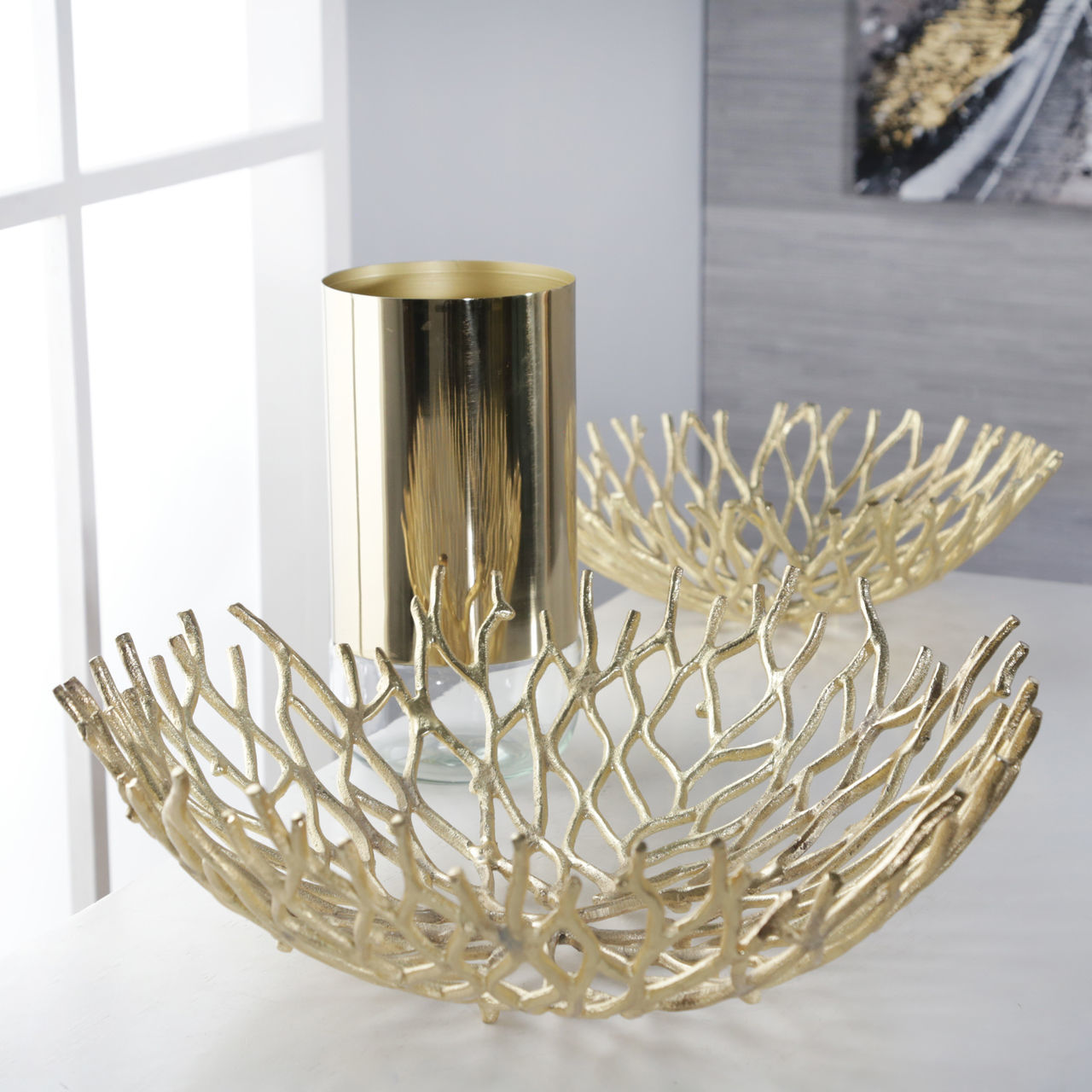 Picture of Gold Aluminum Branch Bowl Set