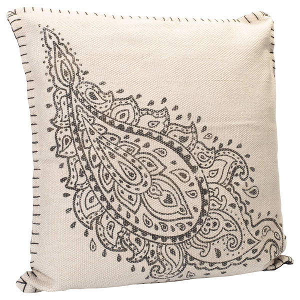 """Picture of Paisley Charcoal Gray 20"""" Square Outdoor Pillow"""