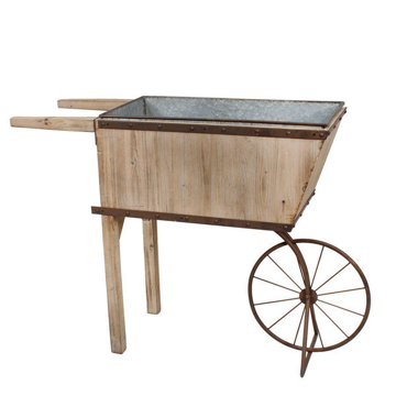 Picture of TIN/WOOD WHEELBARROW PLANTER