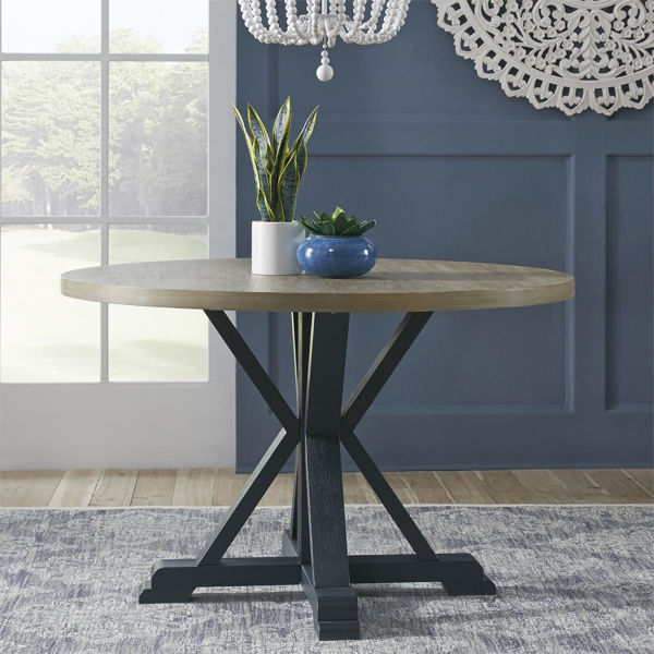 Picture of DEEP SEA NAVY PEDESTAL TABLE