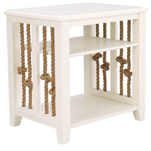 Picture of SARDINIA ROPE END TABLE IN WHITE