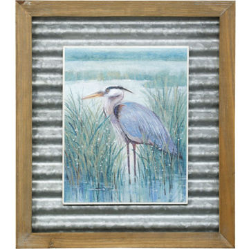 Picture of WETLAND HERON TEXT PRINT II