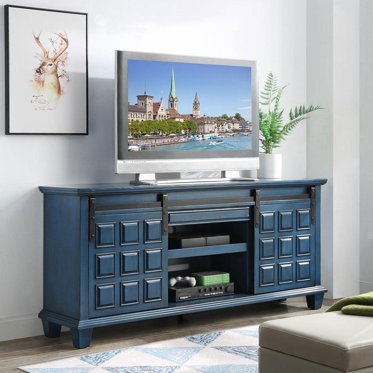 Picture of 1 DOOR 2 DRAWER MEDIA CREDENZA IN BLUE
