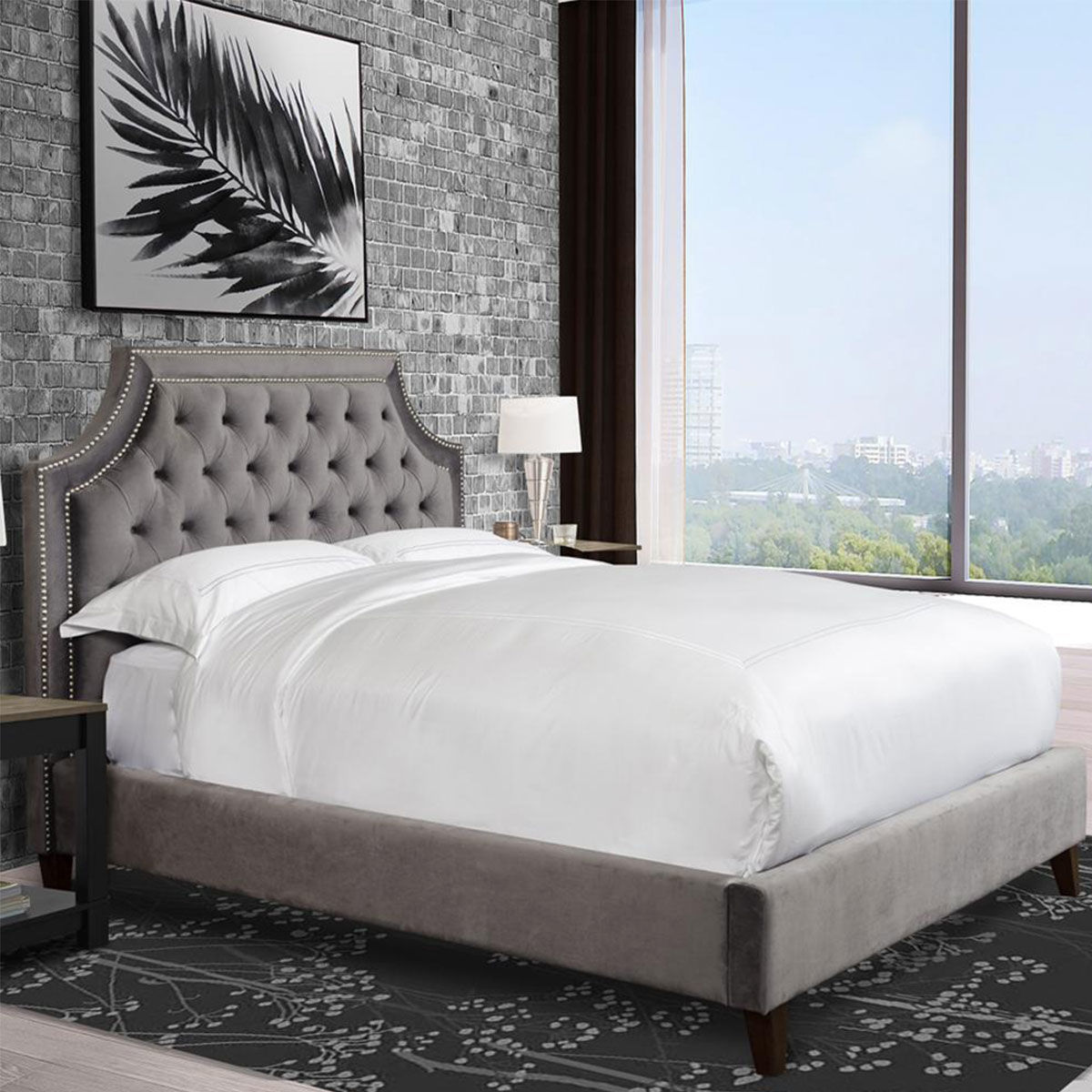 Picture of JASMINE FLANNEL UPHOLSTERED KING BED