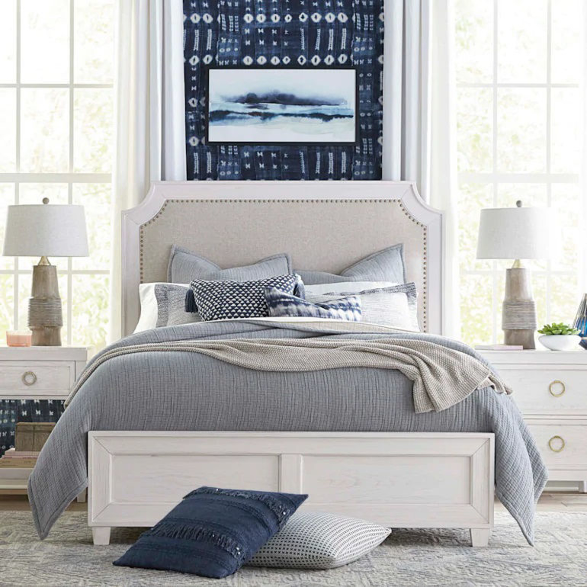 Picture of VENTURA CHALK WHITE UPHOLSTERED BED