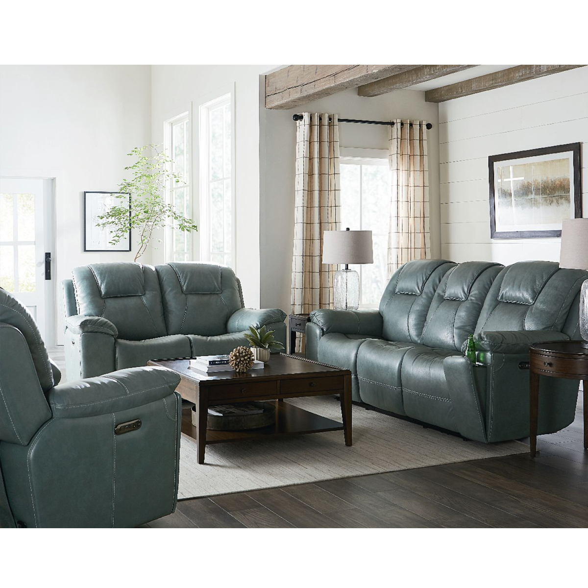 Picture of CHANDLER BLUE RECLINER W/PHR