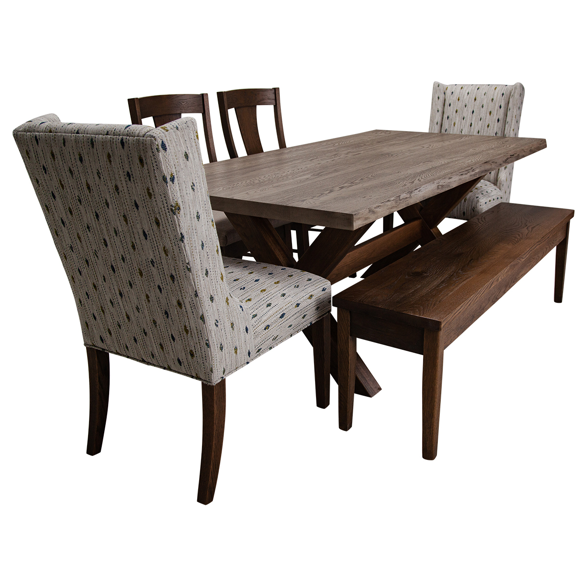 """Picture of CROSSBUCK 72"""" 7PC DINING @14"""