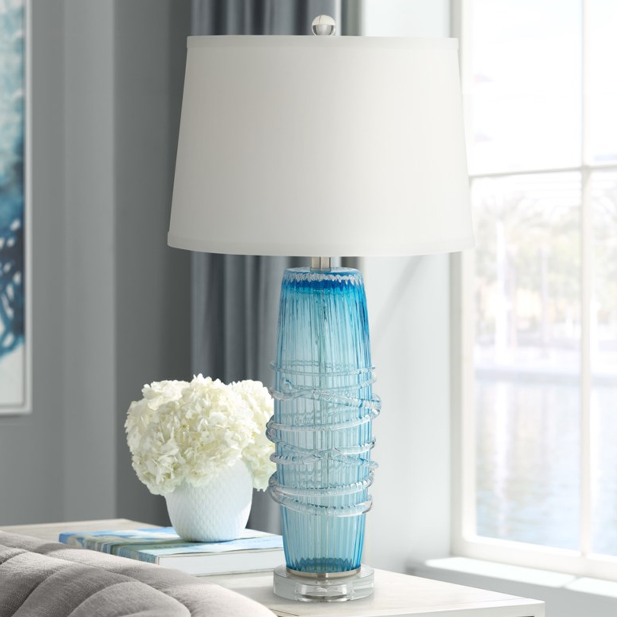 Picture of ARTIC BLUE GLASS SEEDED LAMP