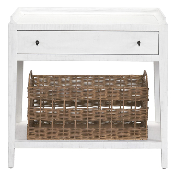 Picture of MODERN FARMHOUSE LEG NIGHTSTAND WITH BASKET