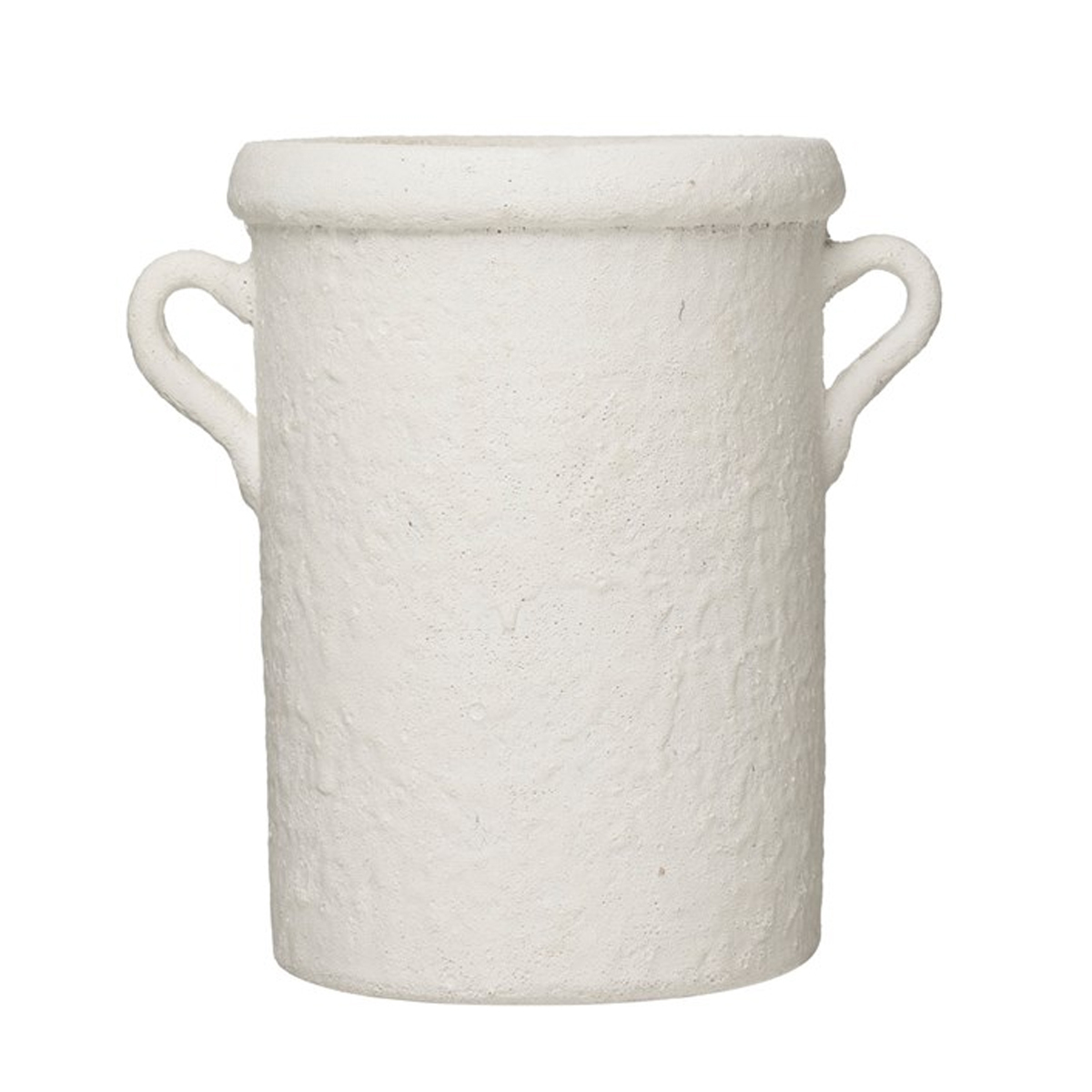 Picture of TERRA-COTTA CROCK WITH HANDLE IN WHITE